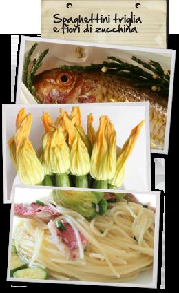 Spaghettini Triglia  e Fiori di Zucca